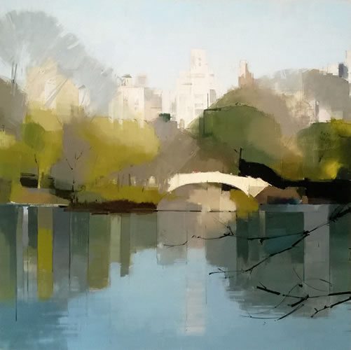 Bow Bridge Reflections - painting by Lisa Breslow