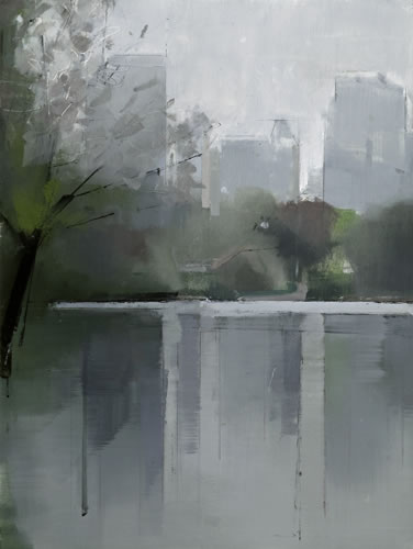 painting Central Park Lake 2