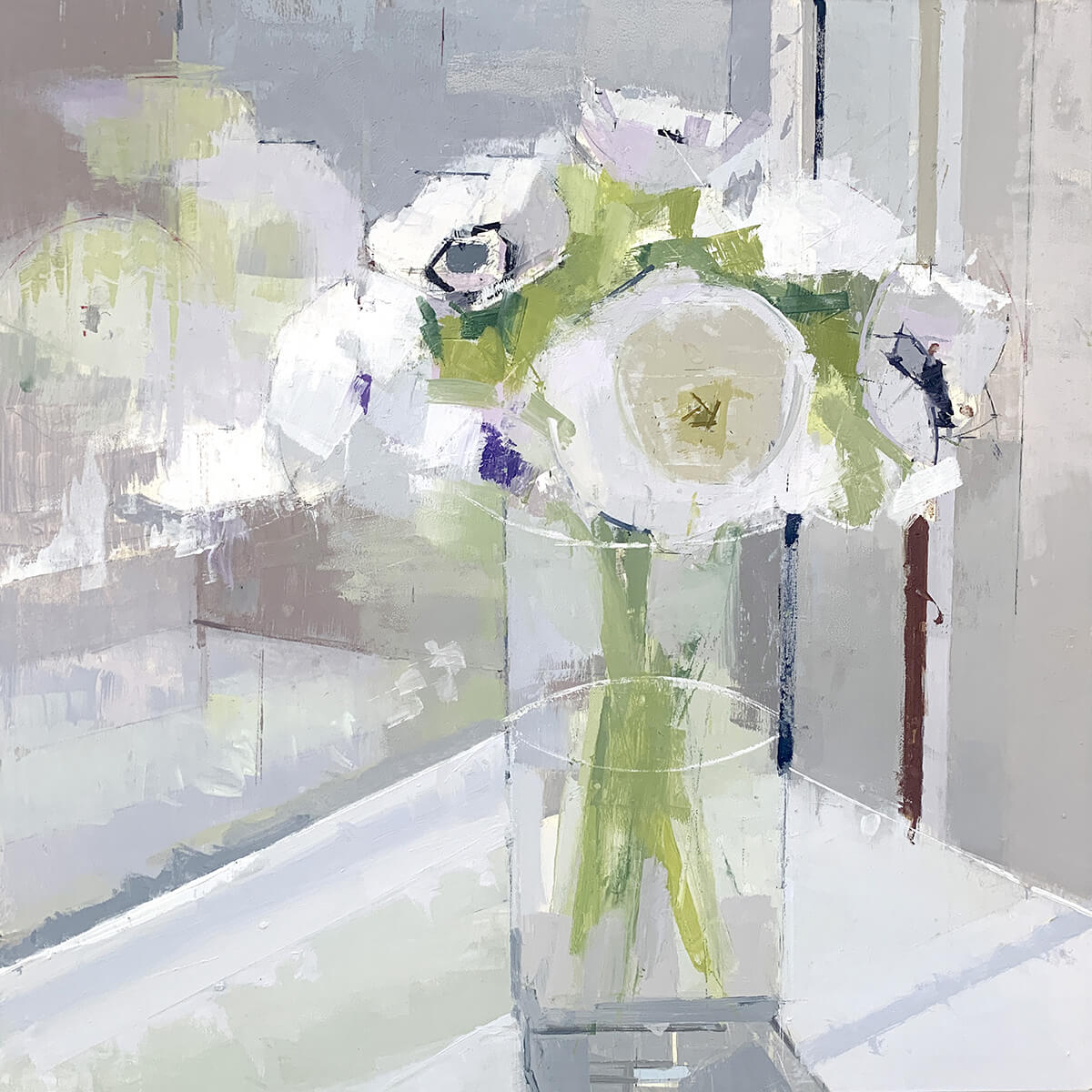 painting, Flower Reflections painting by Lisa Breslow