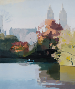 painting Central Park, Autumn by Lisa Breslow