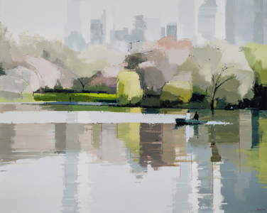 painting Central Park, Spring by Lisa Breslow