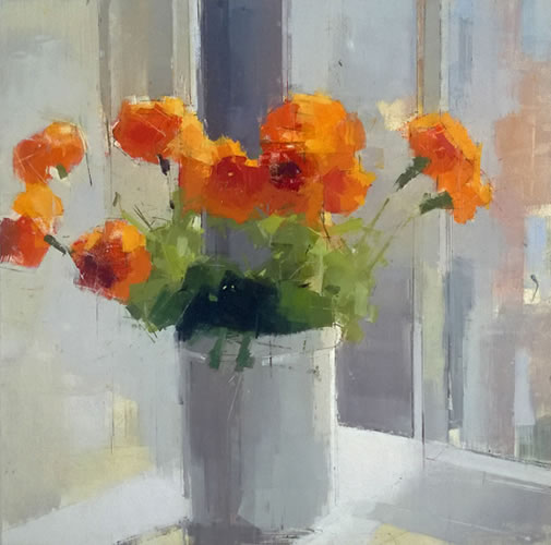 painting Orange Flowers