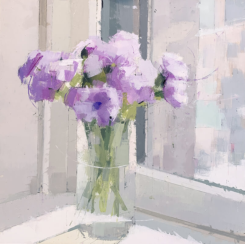 Purple and White  - painting by Lisa Breslow.