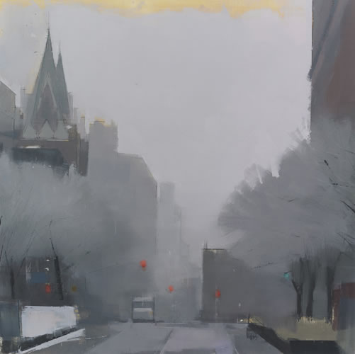 painting West Village Street, Winter's Day 2